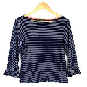 Ralph Lauren Navy Blue Stripes 3/4 Sleeve Shirt XL